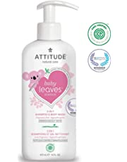 ATTITUDE Baby Leaves, Hypoallergenic 2 in 1 Shampoo & Body Wash, Fragrance Free, 16 Fluid Ounce