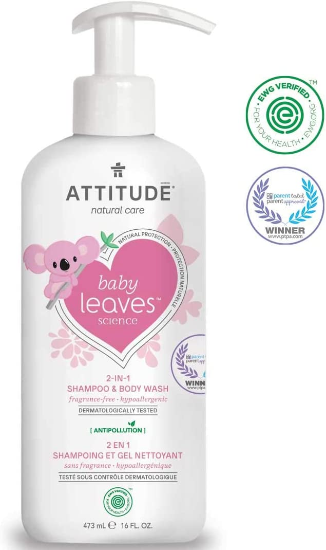 ATTITUDE Natural 2-in-1 Baby Shampoo & Body Wash, Ewg Verified, Hypoallergenic, Dermatologist Tested, Fragrance Free, 16 Fl. Oz. (473 Ml)
