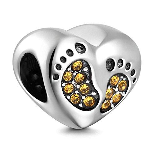 PHOCKSIN Baby Footprint 925 Sterling Silver Charms for Bracelets Yellow CZ November Birthstone Birthday ()
