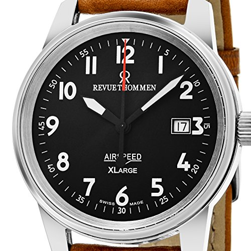 Revue Thommen 'Air Speed XL' Black Dial Brown Leather Strap Swiss Mechanical Watch 16052.2537 by Revue Thommen (Image #1)