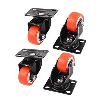 eDealMax 4pcs 1,5 Ronda Rueda rectángulo Placa Superior rotación de 360 grados