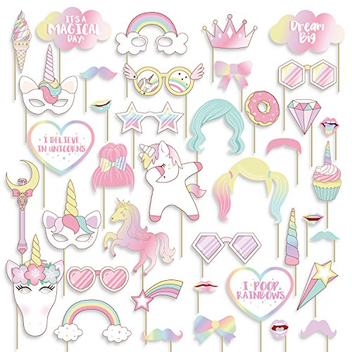 40PCS Unicorn Photo Booth Props - Rainbow Birthday Party Supplies Decorations by Geefuun