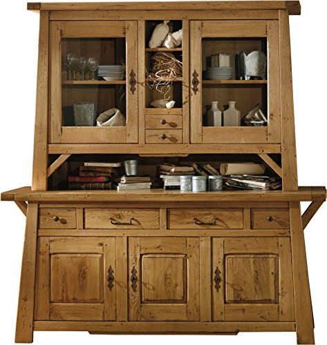 Solid Oak Welsh Dresser Cabinet with 3 Doors and 2 Gold Body Guillaume Fresnay Gold