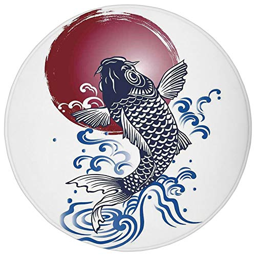 Round Rug Mat Carpet,Ocean Animal Decor,Ornate Japanese Brocaded Carp Fin with Red Circular Form Eastern Fresh Graphic,Blue,Flannel Microfiber Non-Slip Soft Absorbent,for Kitchen Floor Bathroom