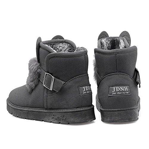 Lined Boots Warm TAOFFEN 3301Gray Women BRq1txA6