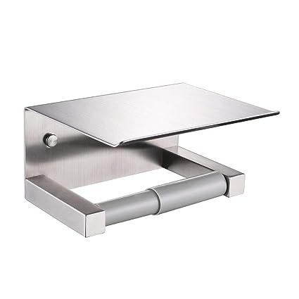 Portarrollos de papel higiénico con estante, aplusee SUS304 acero inoxidable cocina baño tejido soporte Primavera