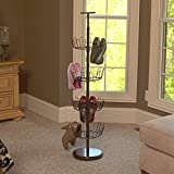 Household Essentials 2139-1 Metal Four-Tier Adjustable Revolving Shoe Rack | Holds up to 24 Pairs of Shoes |Antique Bronze Finish