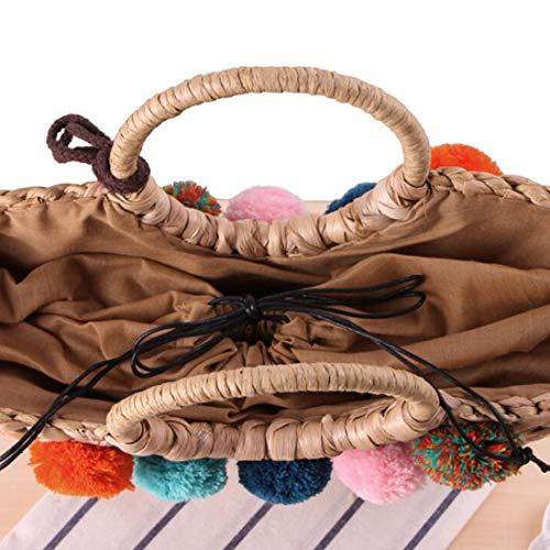 Ball la la Playa Mano Color Natural Anillo PUWEN Chic de Las Camel la Toto Silk Tejida para Informal de Retro Mano Camel Bolsos Grande Manera a de Mujeres Scarf q6f6xAOEw