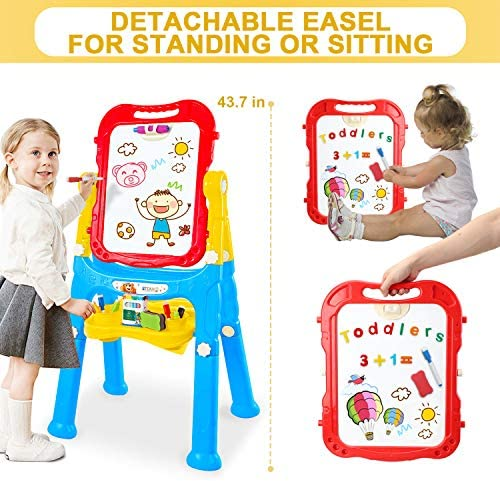 STEAM Life Art Easel For Kids - 4 In 1 Double Sided Magnetic Board, Chalkboard, And Drawing White Board For Kids Toddler -Includes Magnetic Letters And Numbers - Easy Storage
