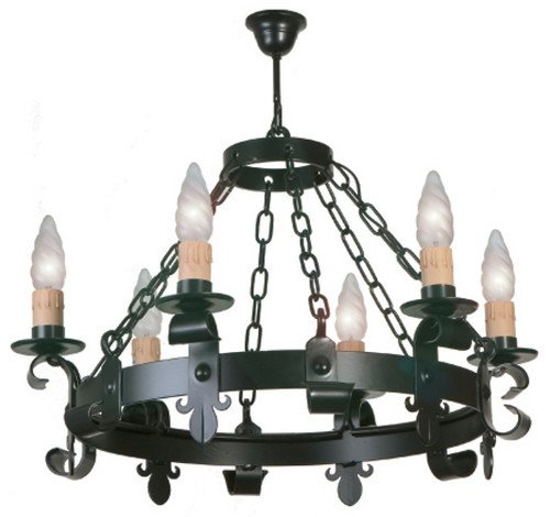 Lámpara de forja rustica para techo con 6 luces.: Amazon.es ...