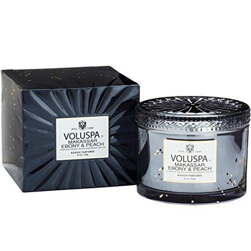 (Voluspa Makassar Ebony & Peach Corta Maison Boxed Glass Candle, 11 ounces)