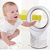 Ecosin Kid Desktop Bladeless Portable Fan Air Flow Cooling Cool Fan Low Low Noise (White)