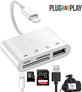 Norola SD/TF Card Reader 4 in 1 SD Card Reader Adapter Digital Camera Reader Adapter Trail Game Camera Viewer with 1 USB OTG InterfaceCompatible with iPhone/iPad, No App Required