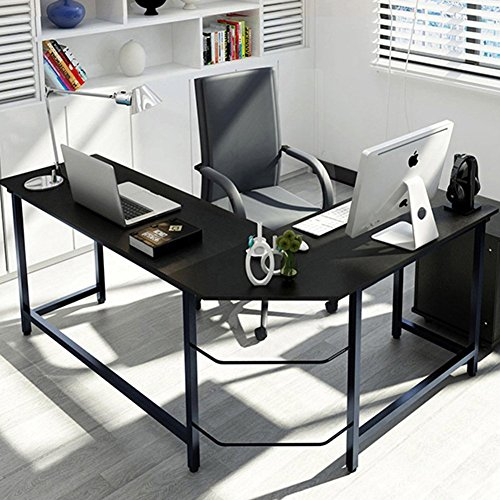 Tribesigns Modern L-Shaped Desk Corner Computer Desk PC Latop Study Table Workstation Home Office Wood & Metal, Black (Desk Workstation Metal Black)