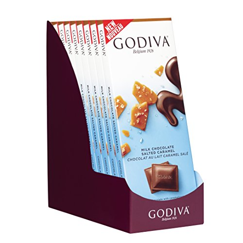 Godiva Chocolatier 90g Milk Chocolate Salted Caramel Tablet Bar, 31.75 Ounce (Gift Pack of 10)