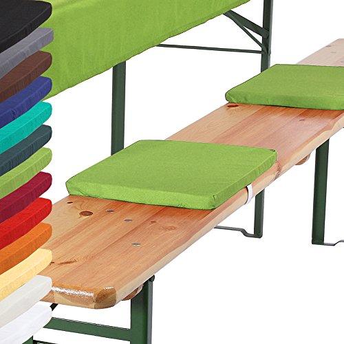 Bankkissen 4er Set 25x36x2 cm Bierbankkissen Kissen Sitzkissen Bierzeltgarnitur mit Befestigungsband - apfelgrün