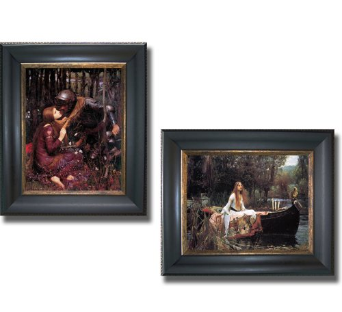 La Belle Dame Sans Merci & The Lady of Shalott by Waterhouse 2-pc Premium Black & Gold Framed Canvas Set - Merci Sans Dame Belle Framed