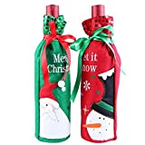 Happy Hours - 1 Pair Christmas Red Wine Bottle Gift Sacks / Pretty Santa Snowman Decoration Bottle Bags Cover for Party Prom Hotel Kitchen Table(Santa Claus + Snowman)