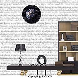 SCOCICI Hanging Round Clock PVC Planet Earth Outer Space Scenery of Globe Years Orbit Discovery Artpri Wall Clock Eco-Friendly Clock Battery Operated for Bathroom Bedroom Living Room School Ofiice 10