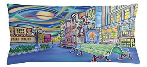 Abstract Throw Pillow Cushion Cover by Lunarable, Seattle Downtown Modern Urban City Colorful Design Art with Oil Painting Effect, Decorative Square Accent Pillow Case, 36 X 16 Inches, - Seattle Stores Downtown