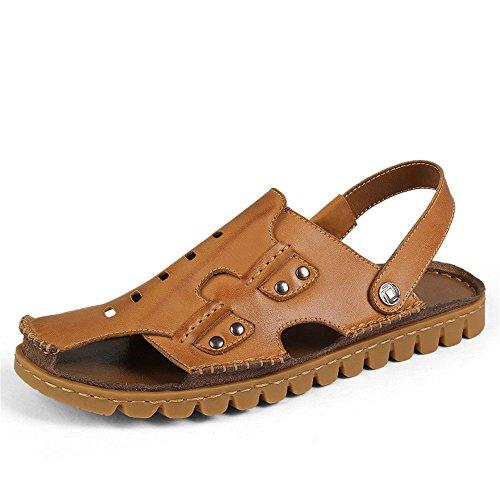 sandali Brown Size sandali uomo Sandali Color sudore in pelle uomo da pelle Sandali antiscivolo Brown 40 chiusi in EU traspiranti da assorbenti Qingqing xq0HBSwS