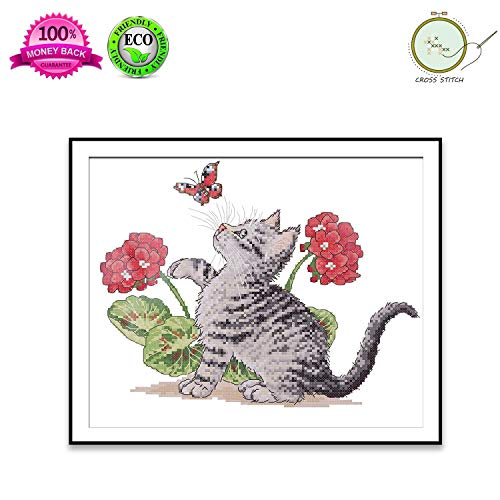 Cross Printed (Cross Stitch Stamped Kit Quilt Pre-Printed Cross-Stitching Patterns for Beginner Kids & Adults– Embroidery Needlepoint Starter Kits, Baby Cat Play with Butterfly)