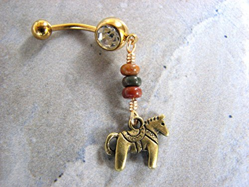 Gold Titanium Belly Button Rings with Dala Horse Charm and Jasper Stone Beads