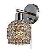 Globe Electric 65310 Modern, Industrial Vendome 1 Light Crystal Wall Sconce Plug-In or Hardwired Conversion Kit, Brushed Steel