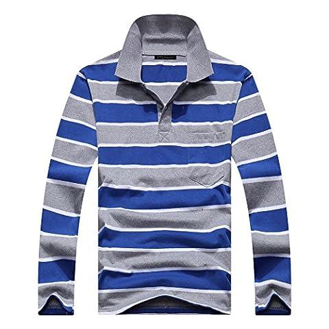 pqdaysun Men's Long Sleeve Casual Stripe Polo Shirts Cotton T Shirt With Pocket Style 9 US M - Casual Stripe Pattern Shirts