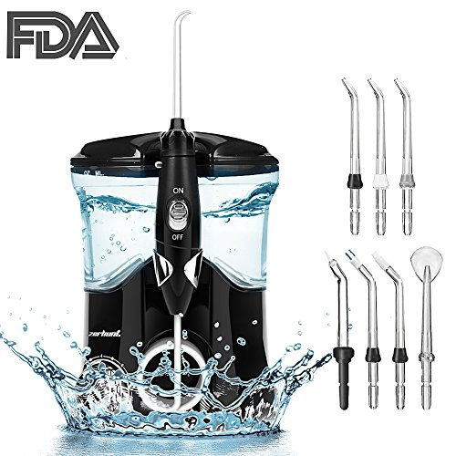 Dental Water Flosser Teeth Cleaner - Zerhunt High Frequency Pulsed Water Pick Electric Oral Irrigator with 7 Interchangeable Nozzles For Braces, Implants, Bridges,600ML Large Capacity Black