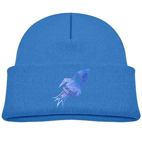 Blue Rocket Ship Wool Beanies Caps Trendy Unisex 0-3 Old
