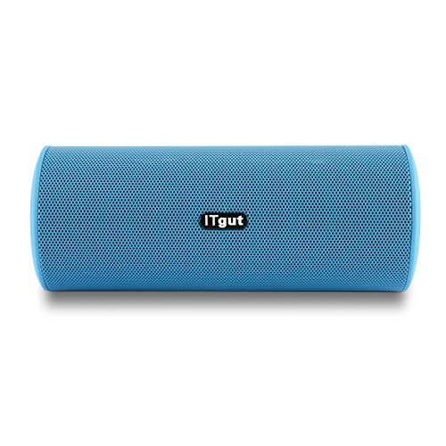 ITgut Portable Outdoor Bluetooth Speakers, Hi-Q Stereo Shocking Bass Built-in Hand-Free Mic, Auto Identification Function Supported (Blue)