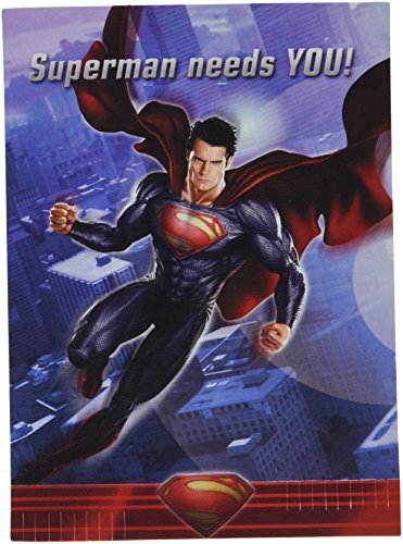 Superman Man of Steel Invitations and Thank You Notes w / Envelopes (Superman Invitations)