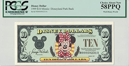 Disney Dollar 1999 $10 Minnie Mouse D00040231A PCGS 58 PPQ Choice About New
