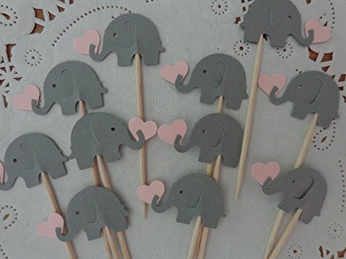 - Grey Elephants holding Light Pink Hearts Cupcake Toppers - NEW Larger Size 1.5