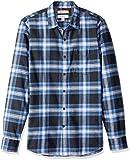 Goodthreads Men's Slim-Fit Long-Sleeve Brushed Flannel Shirt, Navy Blue Plaid, Large