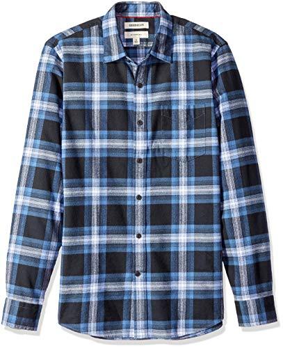 Brushed Flannel Shirt - Goodthreads Men's Slim-Fit Long-Sleeve Brushed Flannel Shirt, Navy Blue Plaid, X-Large