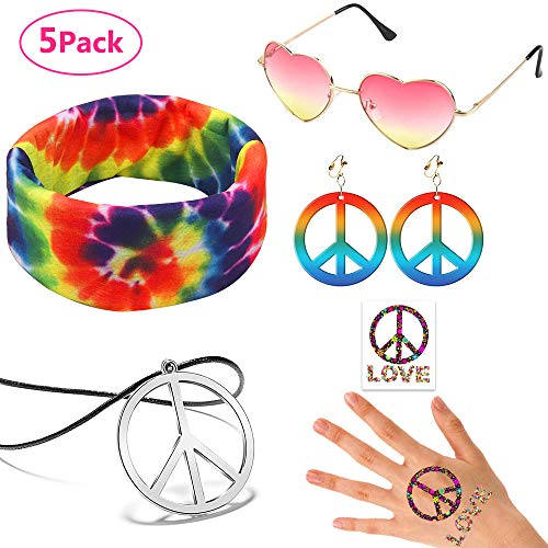 Pack of 5 Hippie Dressing Costume for Women Hippie Sunglasses Pink, Peace Sign Pendant Tie Dye Headband, Peace Sign Earrings Necklace Tattoo, 60s 70s Hippie Accessories Outfit for Party -