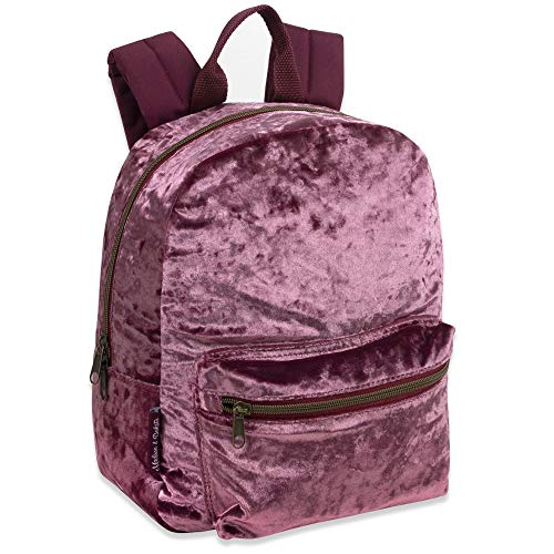 Madison & Dakota Girls Crushed Velvet Mini Pink Backpack ()