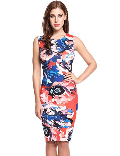 ANGVNS Women's Floral Printed Sleeveless Wiggle Dress Watermelon Red XXL ()