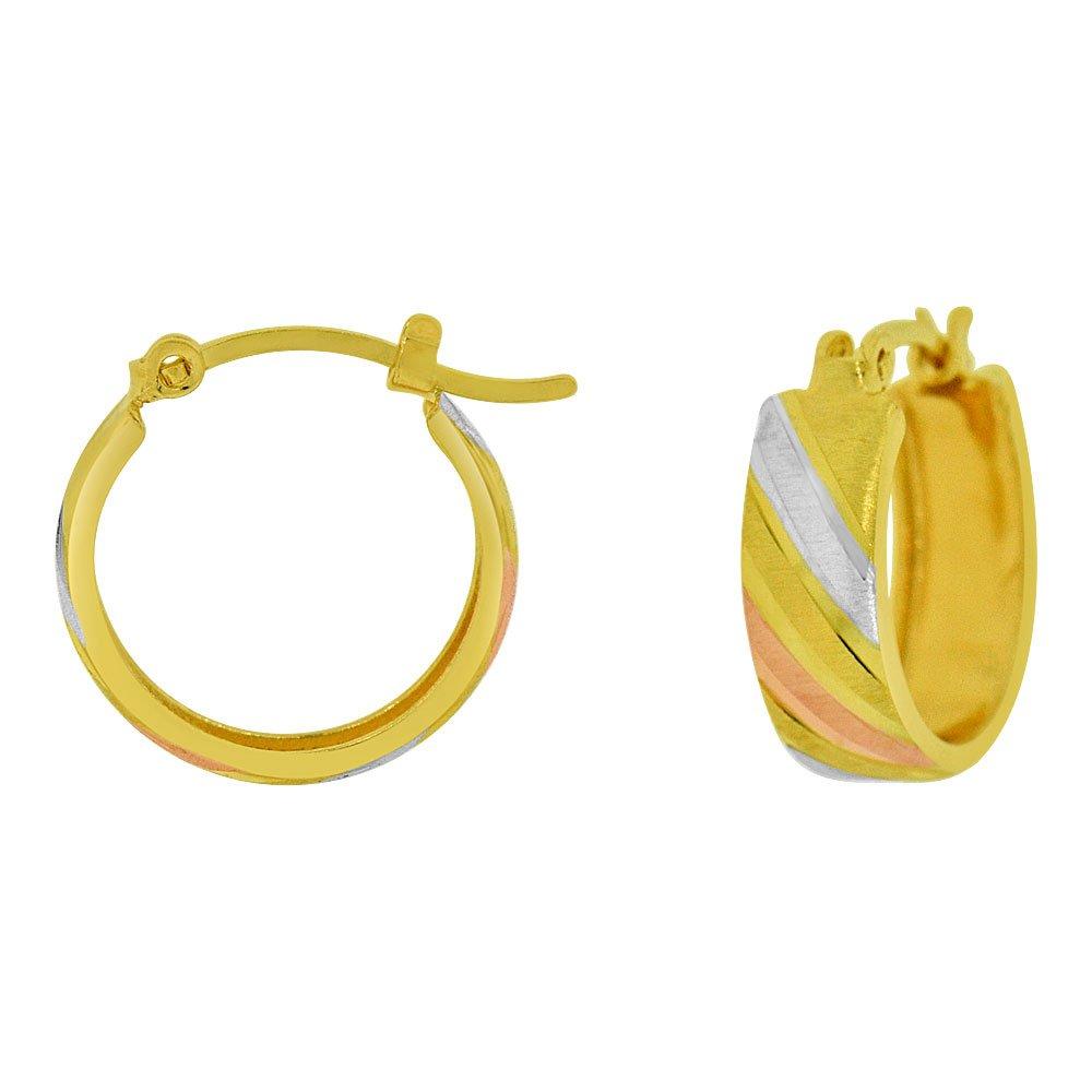 14k Yellow Gold Rose /& White Rhodium Hoop Earring Sparkly 12mm Inner Diameter