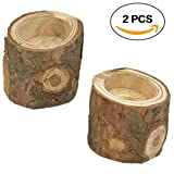 R.FLOWER Tea Light Candle Holders, Personalized Wooden Candle Holder, Natural Wood Candle Holders for Rustic Wedding, Party, Birthday, Holiday Decoration, Set of Two (50mm)