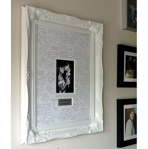 Luxury WHITE Personalised Baroque style Wedding Guest Book Frame ...