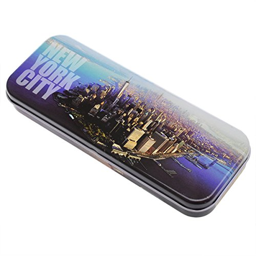Downtown New York Photos - New York City NY Souvenir Multi Purpose Stationery Box Steel Pencil Case Tin Box (Nyc Souvenirs Pencils)