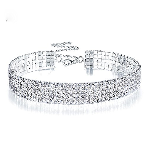 Clear Rhinestone Crystal Choker Necklace Wedding Collar Necklace Birthday Jewelry