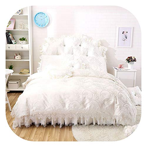 (meiguiyuan 2019 New 4/6/8-Pieces Cotton Jacquard Bedding Set lace Bed Set Queen Bed Linens Duvet Cover Bed Skirt,3,Size 4pcs)