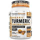 Cheap Turmeric Capsules Bioperine (Black Pepper Extract) Maximum Absorption 1500mg/serving Advanced Pain Relief and Joint Support 95% Standardized Curcuminoids 120 Count/Bottle Made With Organic Turmeric