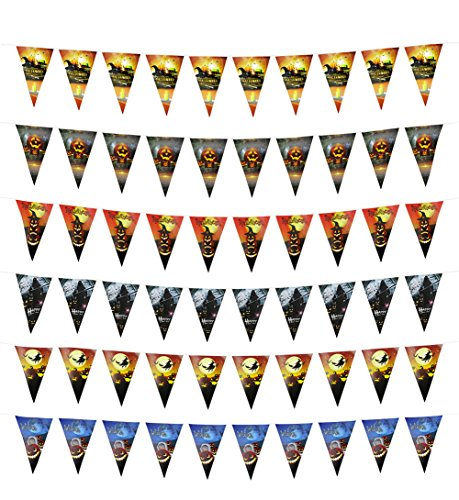 6 Pieces Halloween Party Triangle Banners,Double Sided Decoration Triangle (Halloween Kindergarten Games Parties)
