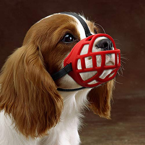 Dog Muzzle,Soft Basket Silicone Muzzles for Dog, Best to Prevent Biting, Chewing and Barking, Allows Drinking and Panting, Used with Collar (5 (Snout 13.5-14.5