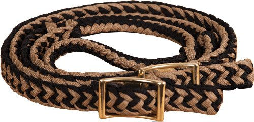 - Southwestern Equine New Braided Barrel Racing Reins - Flat w/easy Grip Knots 8ft (Black & Tan)